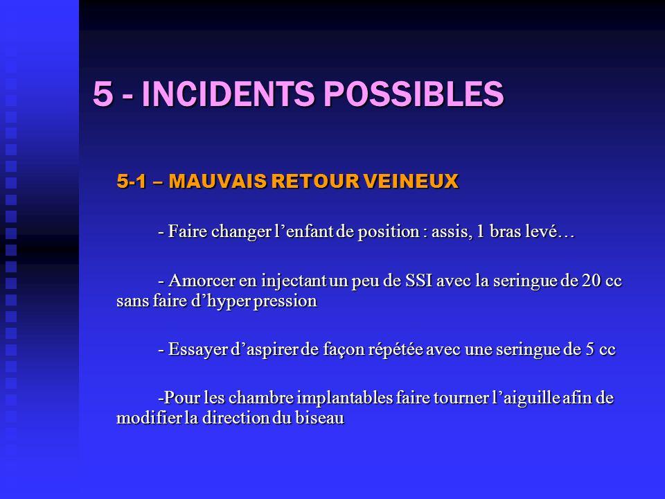 5 - INCIDENTS POSSIBLES 5-1 – MAUVAIS RETOUR VEINEUX - Faire changer lenfant de position : assis, 1 bras levé… - Amorcer en injectant un peu de SSI av