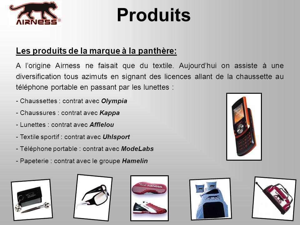 Produits Les produits de la marque à la panthère: A lorigine Airness ne faisait que du textile. Aujourdhui on assiste à une diversification tous azimu