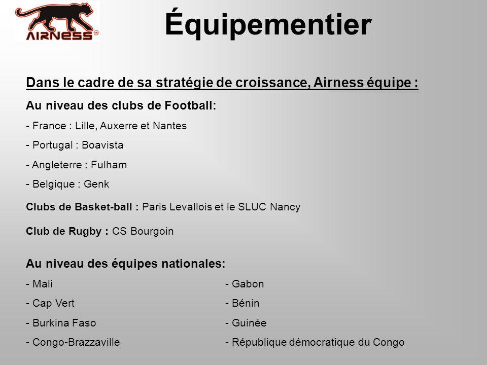 Équipementier Dans le cadre de sa stratégie de croissance, Airness équipe : Au niveau des clubs de Football: - France : Lille, Auxerre et Nantes - Por