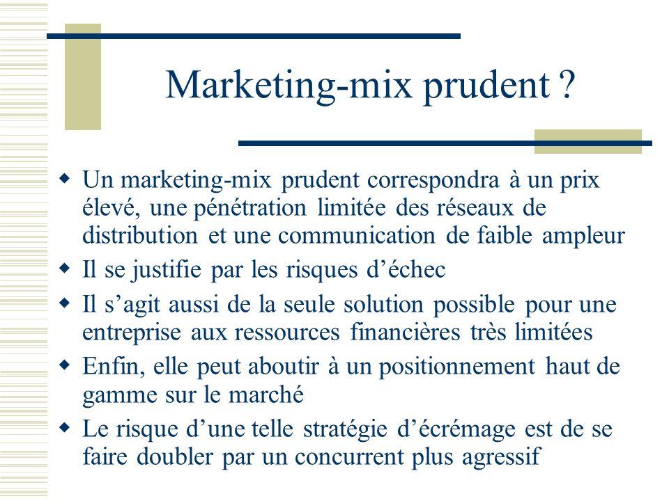 Marketing-mix prudent ? Un marketing-mix prudent correspondra à un prix élevé, une pénétration limitée des réseaux de distribution et une communicatio
