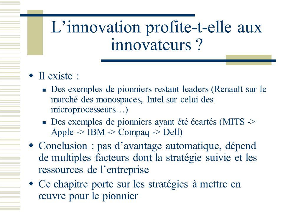 Linnovation profite-t-elle aux innovateurs ? Il existe : Des exemples de pionniers restant leaders (Renault sur le marché des monospaces, Intel sur ce