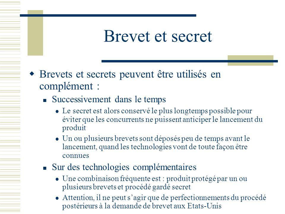 Brevet et secret Brevets et secrets peuvent être utilisés en complément : Successivement dans le temps Le secret est alors conservé le plus longtemps