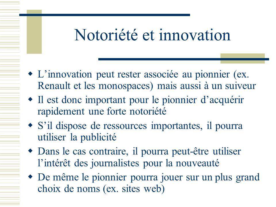 Notoriété et innovation Linnovation peut rester associée au pionnier (ex. Renault et les monospaces) mais aussi à un suiveur Il est donc important pou