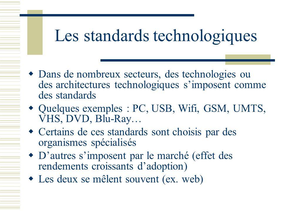Les standards technologiques Dans de nombreux secteurs, des technologies ou des architectures technologiques simposent comme des standards Quelques ex