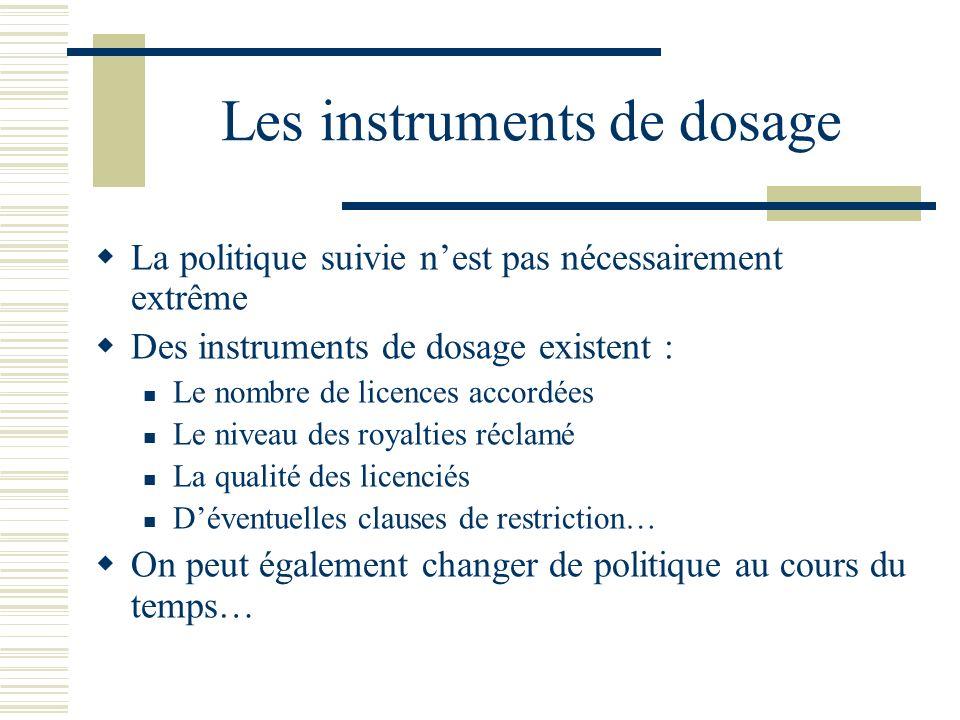 Les instruments de dosage La politique suivie nest pas nécessairement extrême Des instruments de dosage existent : Le nombre de licences accordées Le