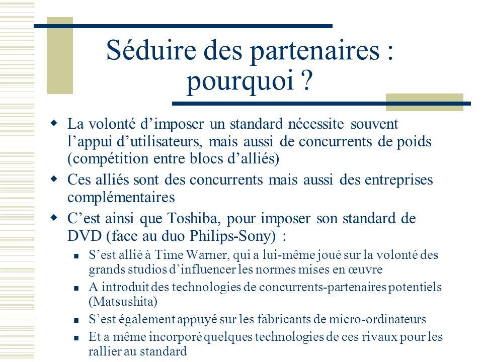 Séduire des partenaires : pourquoi ? La volonté dimposer un standard nécessite souvent lappui dutilisateurs, mais aussi de concurrents de poids (compé