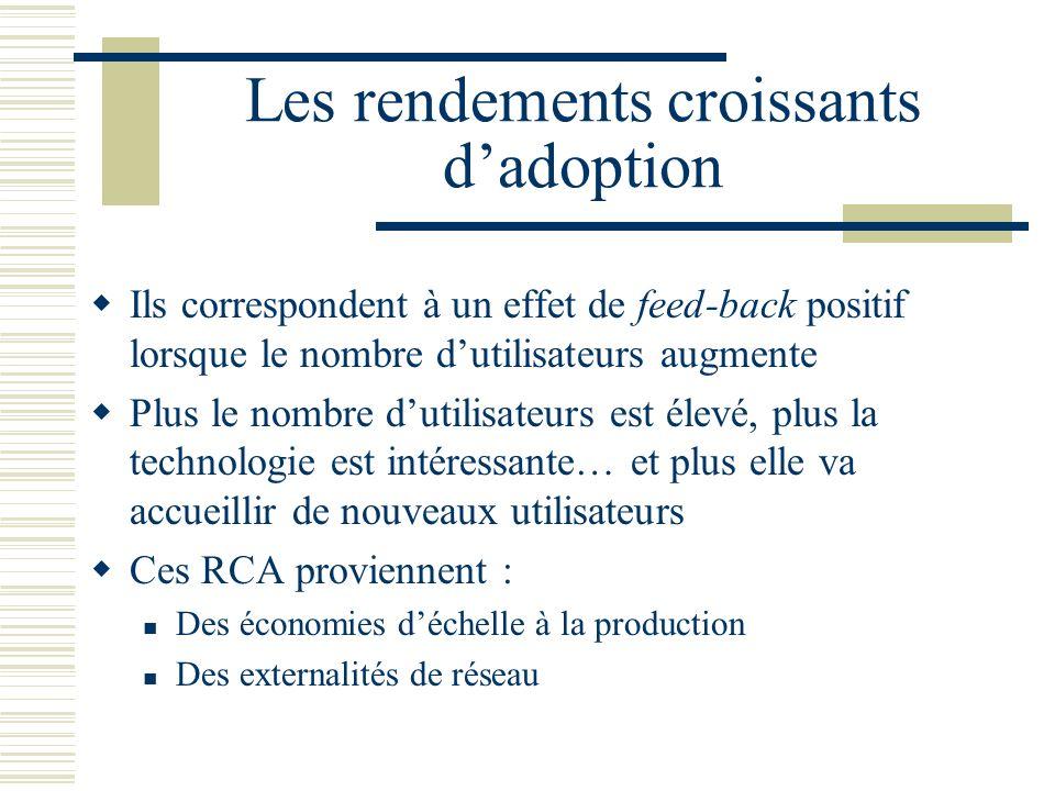 Les rendements croissants dadoption Ils correspondent à un effet de feed-back positif lorsque le nombre dutilisateurs augmente Plus le nombre dutilisa