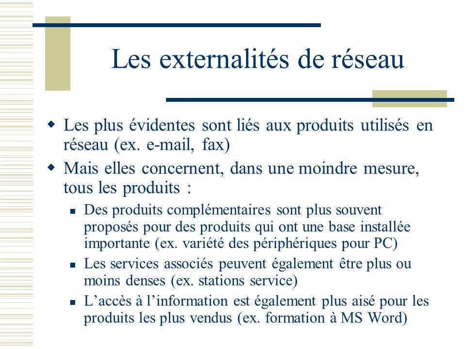 Les externalités de réseau Les plus évidentes sont liés aux produits utilisés en réseau (ex. e-mail, fax) Mais elles concernent, dans une moindre mesu