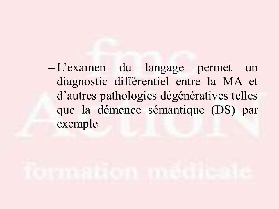 – Lexamen du langage permet un diagnostic différentiel entre la MA et dautres pathologies dégénératives telles que la démence sémantique (DS) par exem