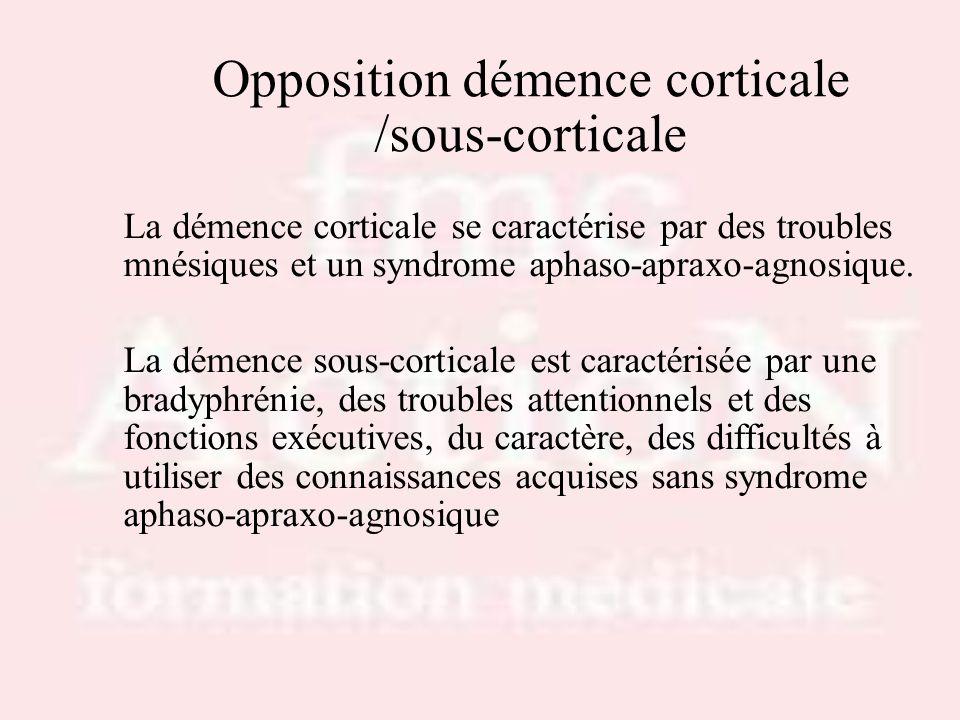 Opposition démence corticale /sous-corticale La démence corticale se caractérise par des troubles mnésiques et un syndrome aphaso-apraxo-agnosique. La
