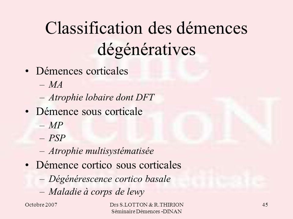 Octobre 2007Drs S.LOTTON & R.THIRION Séminaire Démences -DINAN 45 Classification des démences dégénératives Démences corticales –MA –Atrophie lobaire