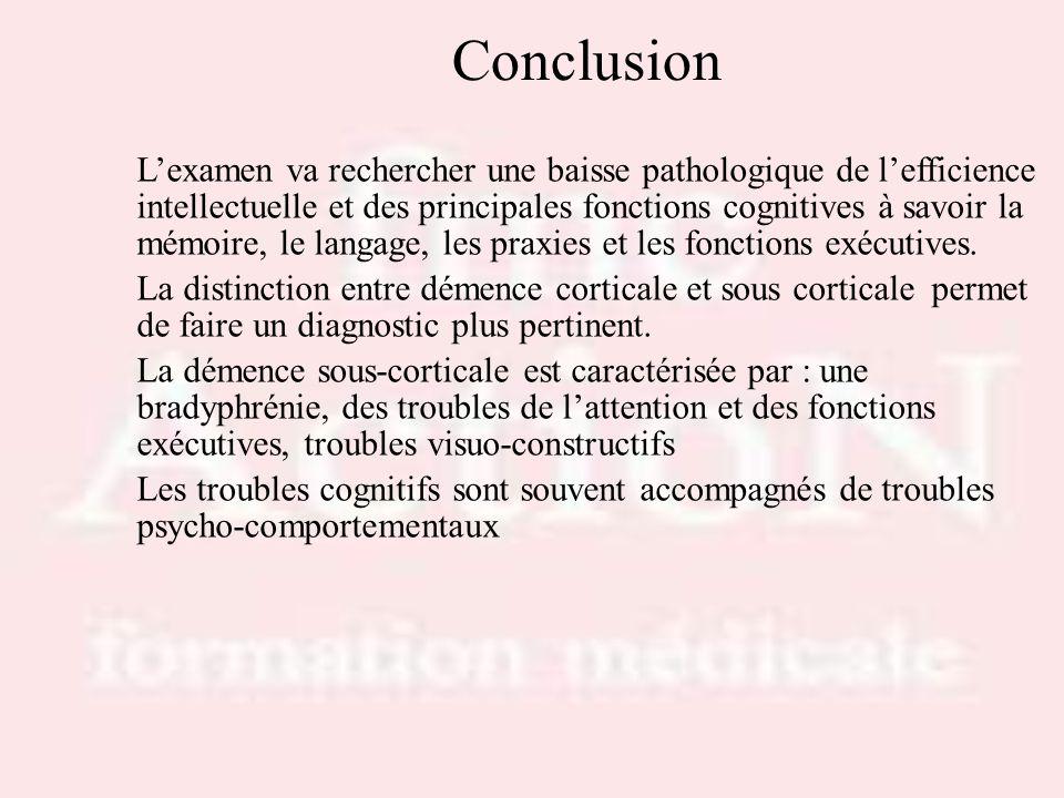 Conclusion Lexamen va rechercher une baisse pathologique de lefficience intellectuelle et des principales fonctions cognitives à savoir la mémoire, le