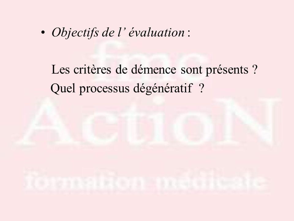 Objectifs de l évaluation : Les critères de démence sont présents ? Quel processus dégénératif ?