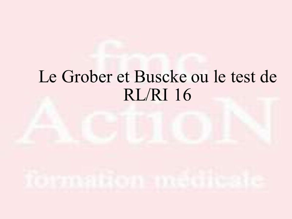 Le Grober et Buscke ou le test de RL/RI 16
