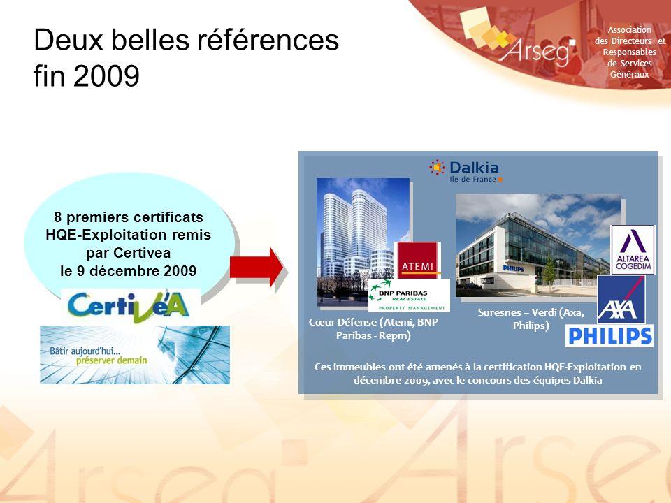 Association des Directeurs et Responsables de Services Généraux Deux belles références fin 2009 Cœur Défense (Atemi, BNP Paribas - Repm) Suresnes – Ve