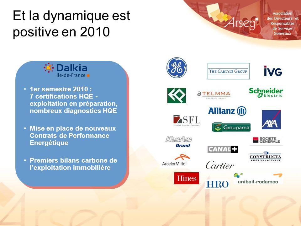 Association des Directeurs et Responsables de Services Généraux 1er semestre 2010 : 7 certifications HQE - exploitation en préparation, nombreux diagn