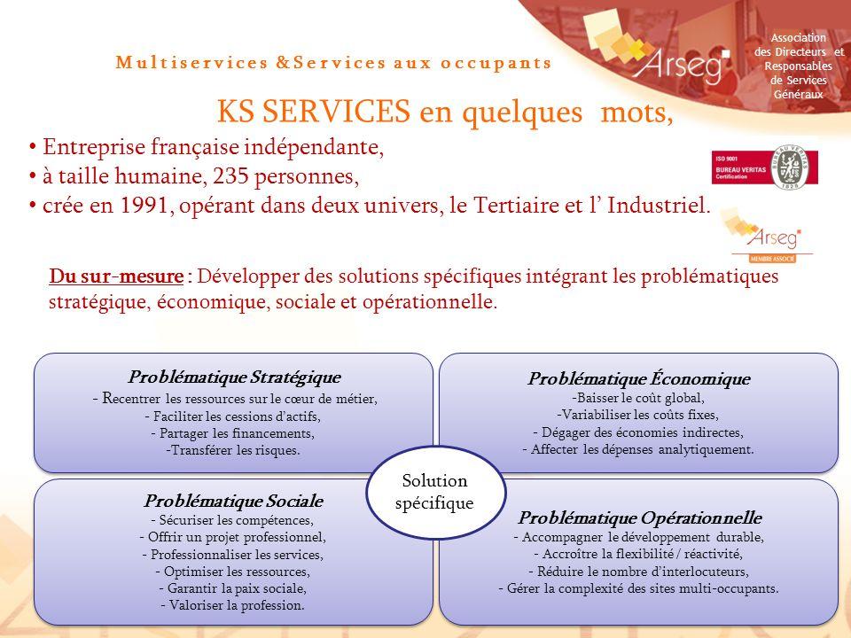 Association des Directeurs et Responsables de Services Généraux Multiservices &Services aux occupants KS SERVICES en quelques mots, Entreprise françai