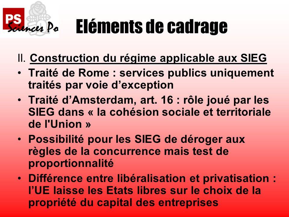 Construction du régime applicable aux SIEG II.