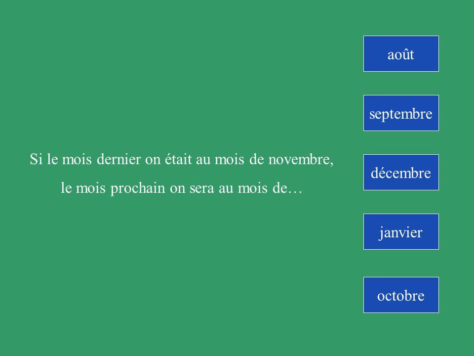 novembre Si il y a 2 mois on était au mois daoût, le mois prochain on sera au mois de….