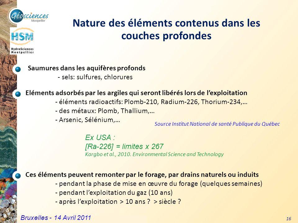 Communauté de Communes du Grand Pic Saint Loup – 3 mars 2011 16 Source Institut National de santé Publique du Québec Nature des éléments contenus dans