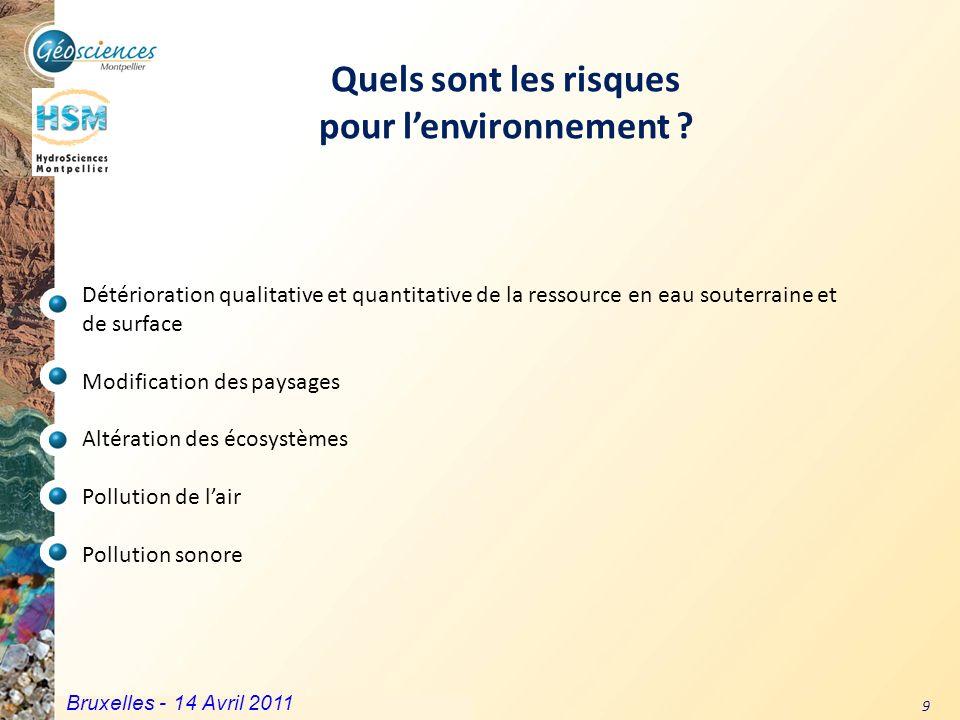 Communauté de Communes du Grand Pic Saint Loup – 3 mars 2011 9 Quels sont les risques pour lenvironnement ? Détérioration qualitative et quantitative