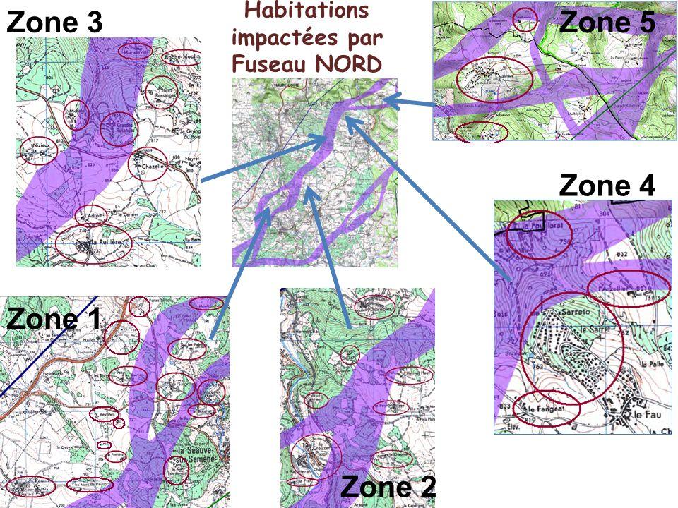 Habitations impactées par Fuseau NORD Zone 3 Zone 1 Zone 2 Zone 4 Zone 5