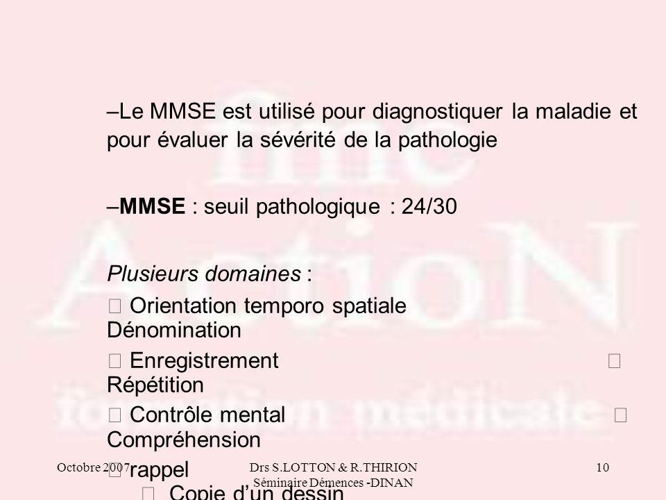 Octobre 2007Drs S.LOTTON & R.THIRION Séminaire Démences -DINAN 10 –Le MMSE est utilisé pour diagnostiquer la maladie et pour évaluer la sévérité de la