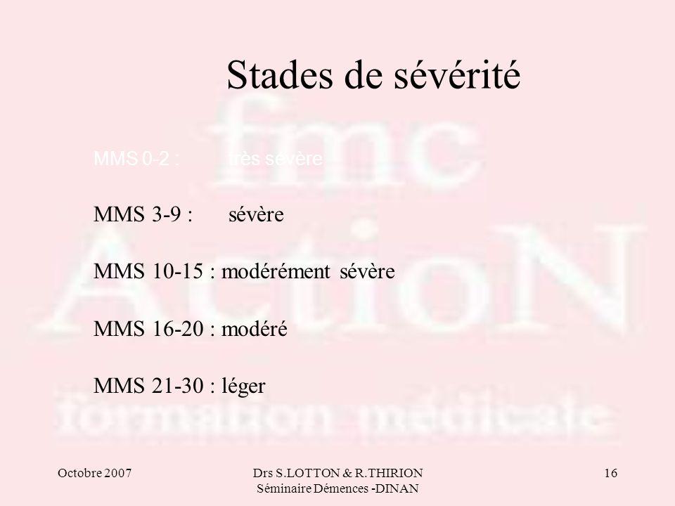Octobre 2007Drs S.LOTTON & R.THIRION Séminaire Démences -DINAN 16 Stades de sévérité MMS 0-2 : très sévère MMS 3-9 : sévère MMS 10-15 : modérément sév