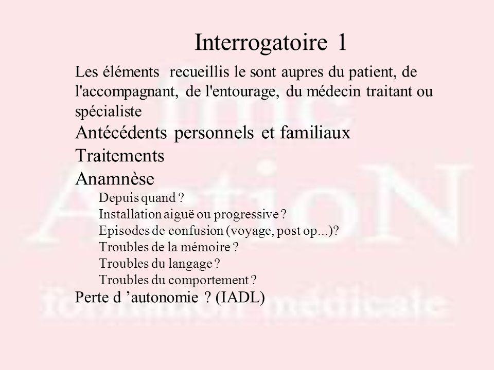 Interrogatoire 1 Les éléments recueillis le sont aupres du patient, de l'accompagnant, de l'entourage, du médecin traitant ou spécialiste Antécédents