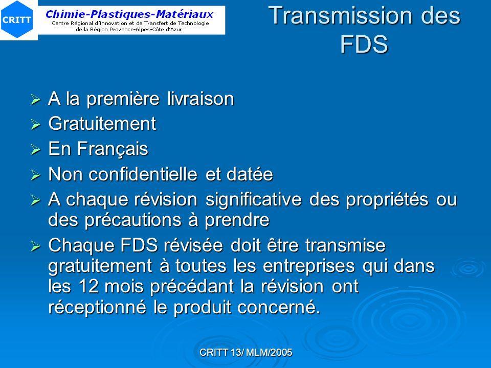 CRITT 13/ MLM/2005 Transmission des FDS A la première livraison A la première livraison Gratuitement Gratuitement En Français En Français Non confiden