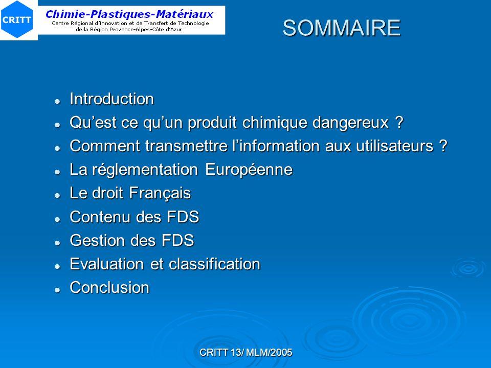 CRITT 13/ MLM/2005 SOMMAIRE Introduction Introduction Quest ce quun produit chimique dangereux ? Quest ce quun produit chimique dangereux ? Comment tr