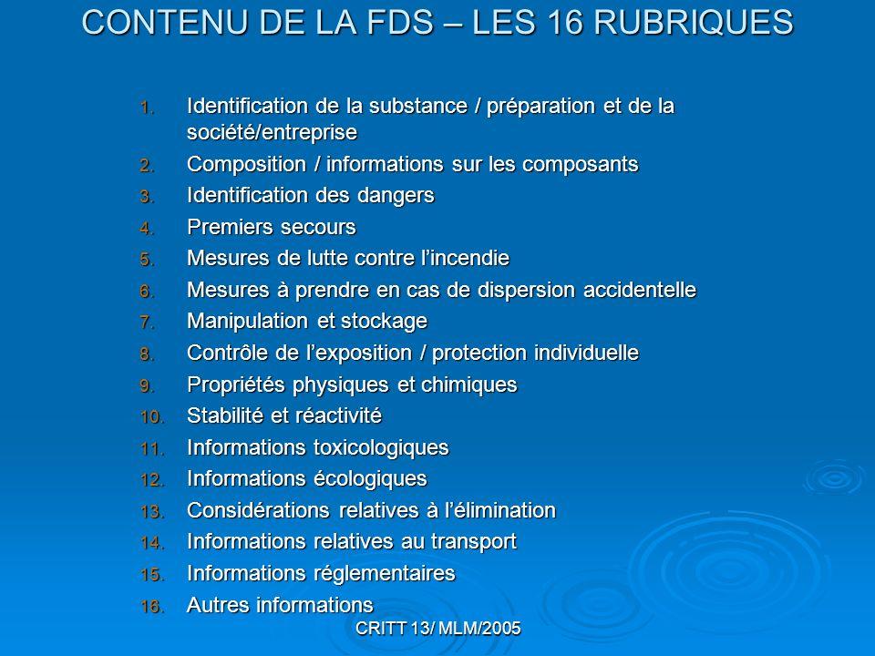 CRITT 13/ MLM/2005 CONTENU DE LA FDS – LES 16 RUBRIQUES 1. Identification de la substance / préparation et de la société/entreprise 2. Composition / i