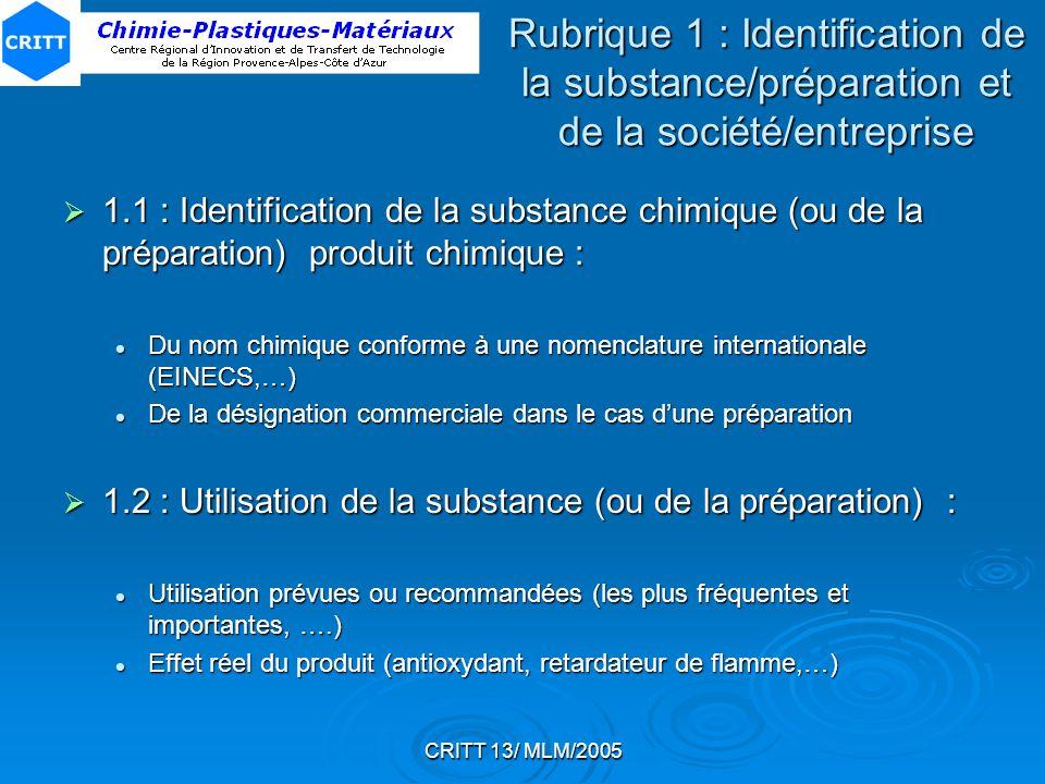 CRITT 13/ MLM/2005 Rubrique 1 : Identification de la substance/préparation et de la société/entreprise 1.1 : Identification de la substance chimique (