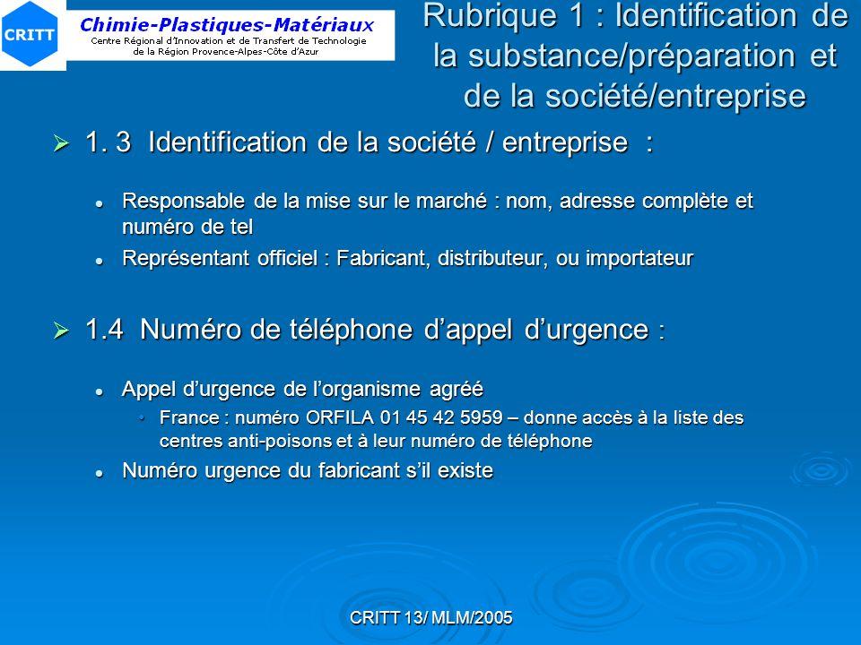 CRITT 13/ MLM/2005 1. 3 Identification de la société / entreprise : 1. 3 Identification de la société / entreprise : Responsable de la mise sur le mar