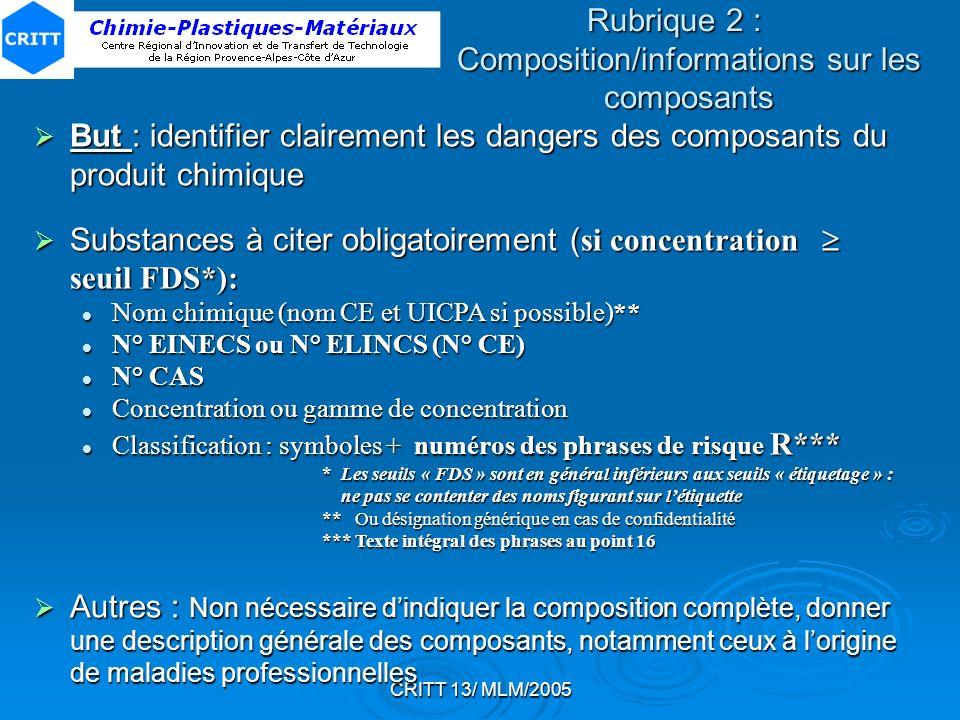 CRITT 13/ MLM/2005 But : identifier clairement les dangers des composants du produit chimique But : identifier clairement les dangers des composants d