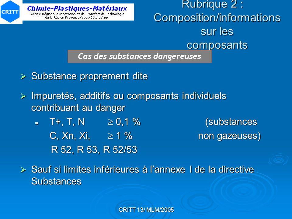 CRITT 13/ MLM/2005 Rubrique 2 : Composition/informations sur les composants Cas des substances dangereuses Substance proprement dite Substance proprem