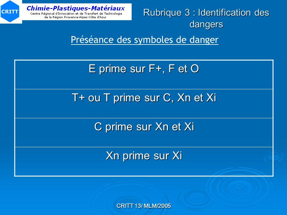 CRITT 13/ MLM/2005 Rubrique 3 : Identification des dangers Préséance des symboles de danger E prime sur F+, F et O T+ ou T prime sur C, Xn et Xi C pri