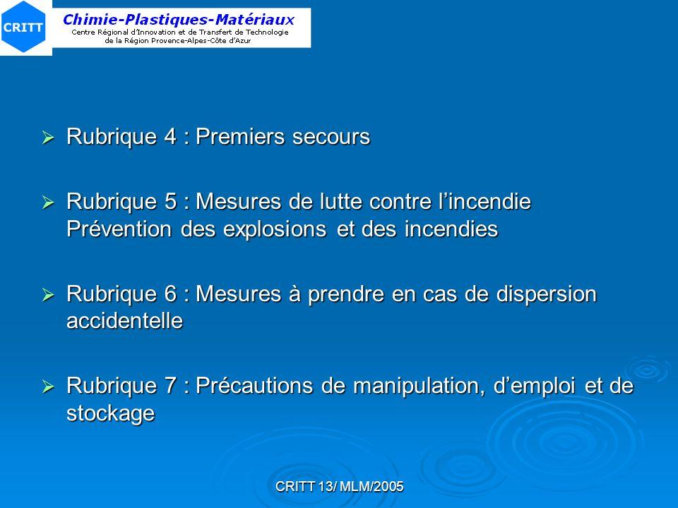 CRITT 13/ MLM/2005 Rubrique 4 : Premiers secours Rubrique 4 : Premiers secours Rubrique 5 : Mesures de lutte contre lincendie Prévention des explosion