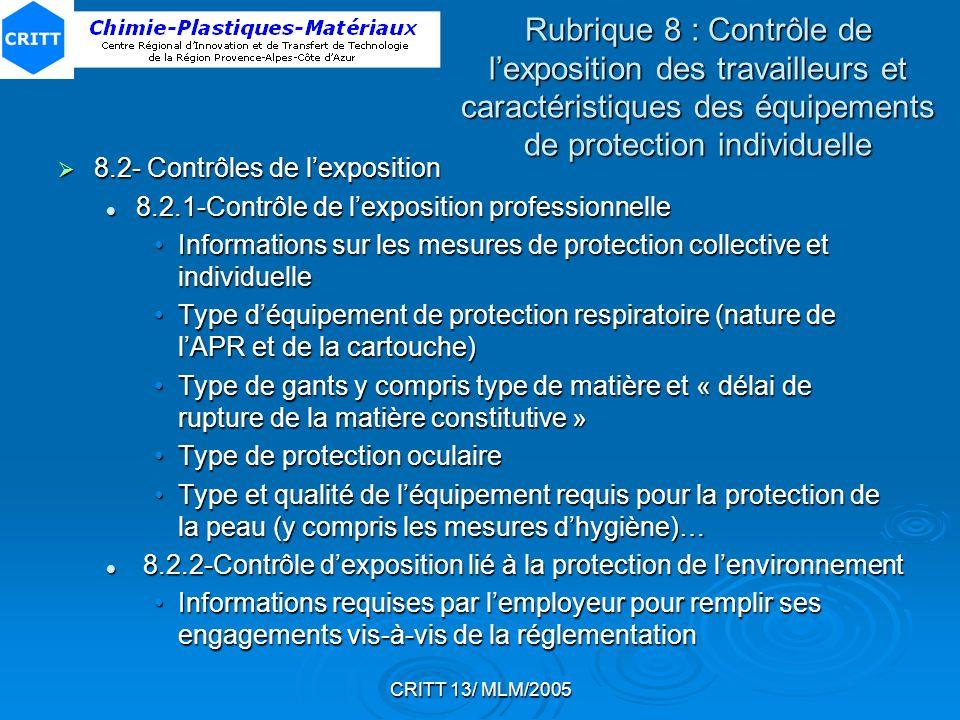 CRITT 13/ MLM/2005 Rubrique 8 : Contrôle de lexposition des travailleurs et caractéristiques des équipements de protection individuelle 8.2- Contrôles