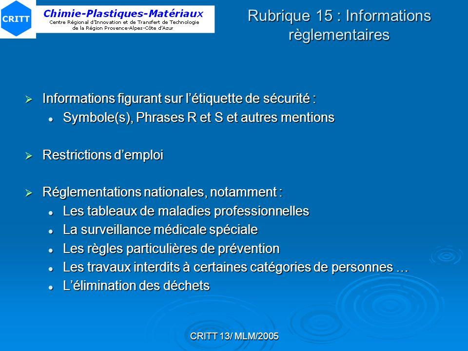 CRITT 13/ MLM/2005 Rubrique 15 : Informations règlementaires Informations figurant sur létiquette de sécurité : Informations figurant sur létiquette d