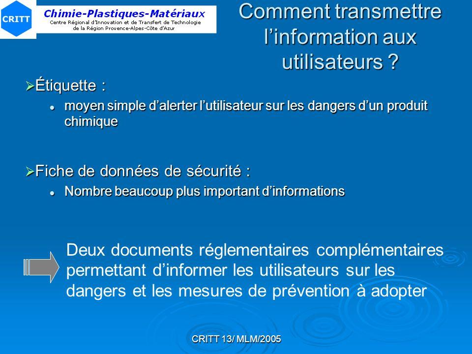 CRITT 13/ MLM/2005 Rubrique 3 : Identification des dangers Préséance des symboles de danger E prime sur F+, F et O T+ ou T prime sur C, Xn et Xi C prime sur Xn et Xi Xn prime sur Xi