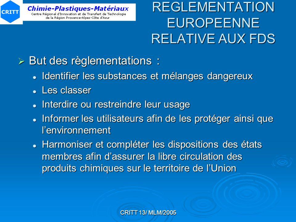 CRITT 13/ MLM/2005 REGLEMENTATION EUROPEENNE RELATIVE AUX FDS But des règlementations : But des règlementations : Identifier les substances et mélange