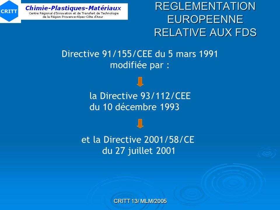 CRITT 13/ MLM/2005 REGLEMENTATION EUROPEENNE RELATIVE AUX FDS Directive 91/155/CEE du 5 mars 1991 modifiée par : la Directive 93/112/CEE du 10 décembr