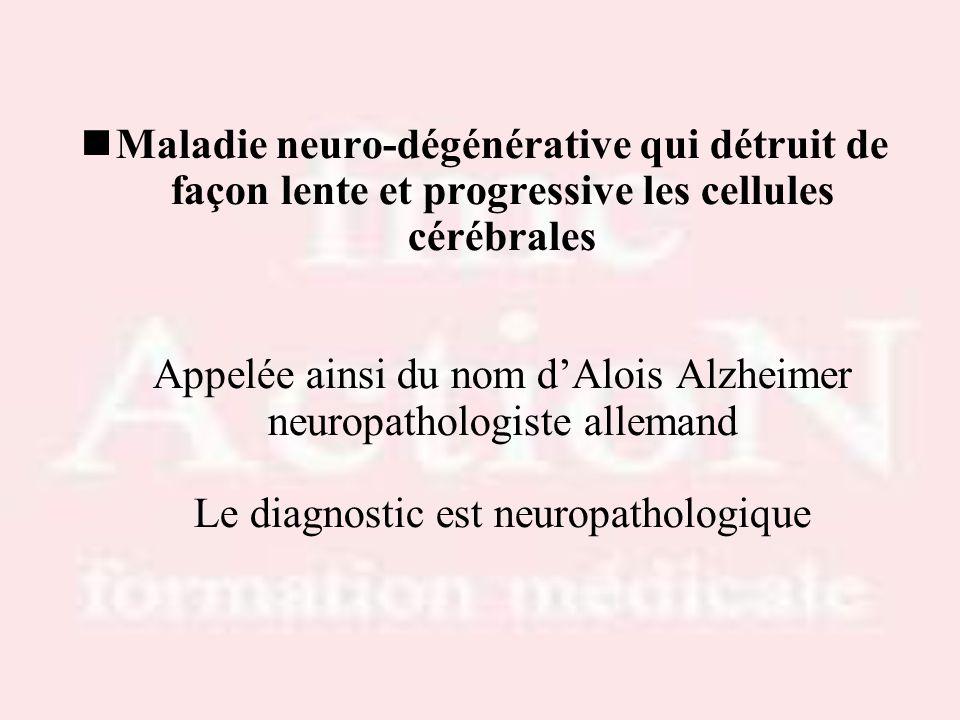 Progression des lésions anatomopathologiques –Atteinte en premier des zones du cerveau les plus impliquées dans la mémoire (HIPPOCAMPE) –puis diffusion aux zones du CORTEX ASSOCIATIF qui contrôlent le langage, les praxies, les gnosies… –Puis atteinte du LOBE FRONTAL