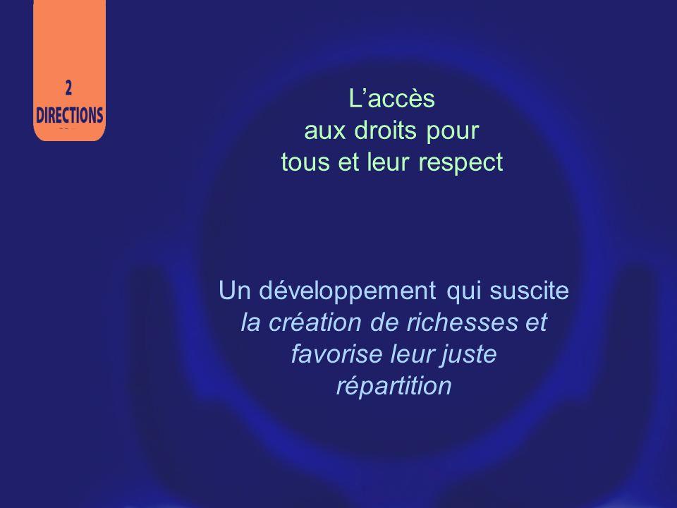 Laccès aux droits pour tous et leur respect Un développement qui suscite la création de richesses et favorise leur juste répartition