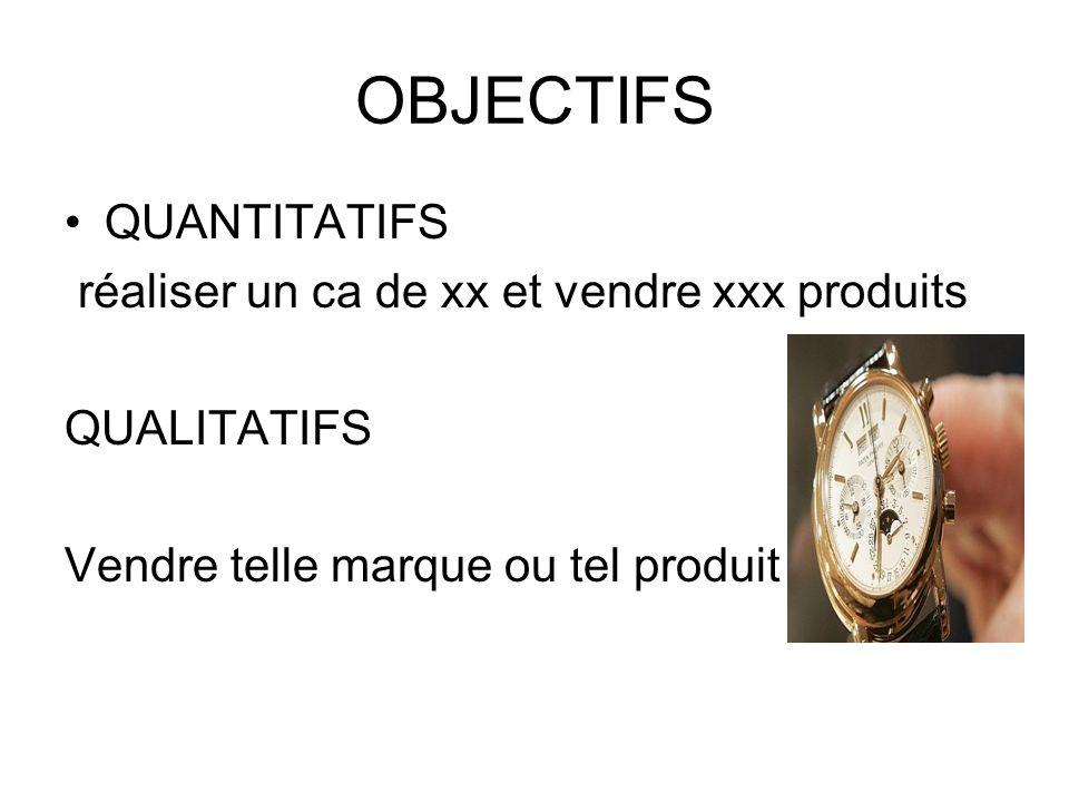 OBJECTIFS QUANTITATIFS réaliser un ca de xx et vendre xxx produits QUALITATIFS Vendre telle marque ou tel produit
