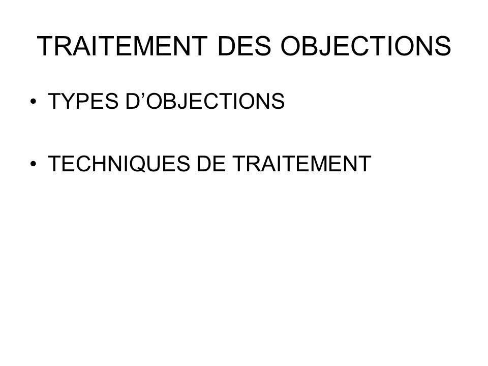 TRAITEMENT DES OBJECTIONS TYPES DOBJECTIONS TECHNIQUES DE TRAITEMENT