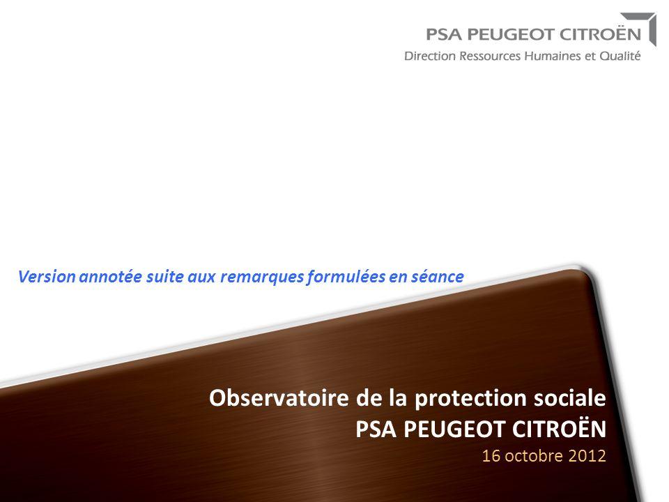 Observatoire de la protection sociale PSA PEUGEOT CITROËN 16 octobre 2012 Version annotée suite aux remarques formulées en séance
