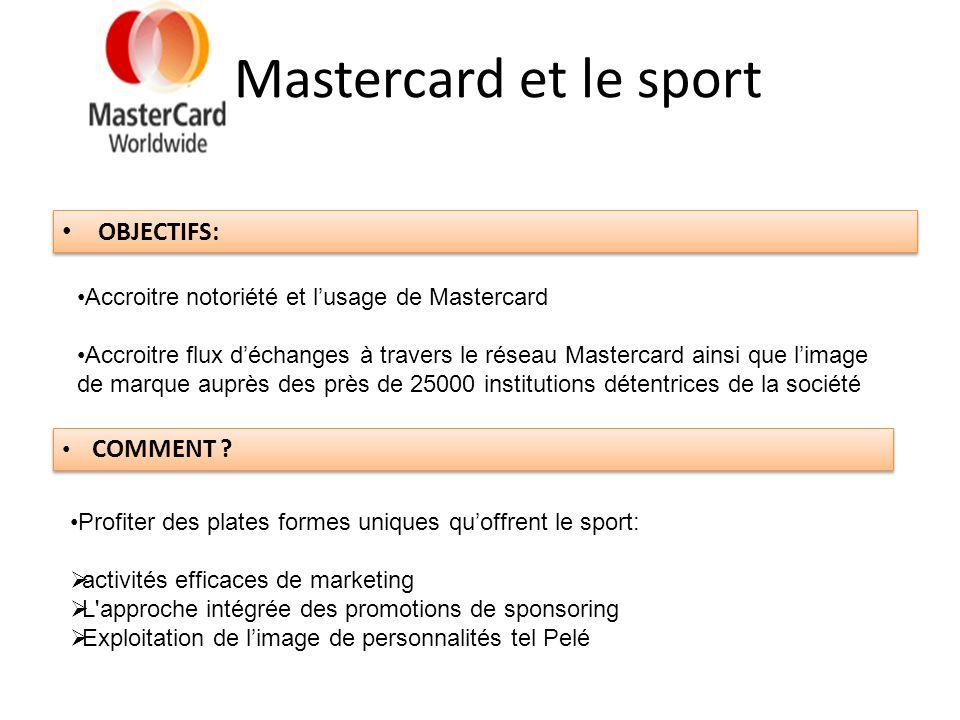 Mastercard et le sport OBJECTIFS: Accroitre notoriété et lusage de Mastercard Accroitre flux déchanges à travers le réseau Mastercard ainsi que limage