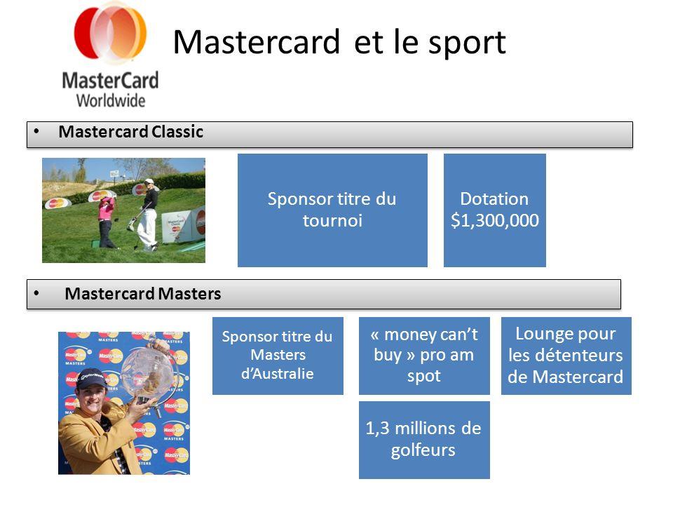 Mastercard et le sport Mastercard Classic Sponsor titre du tournoi Dotation $1,300,000 Mastercard Masters Sponsor titre du Masters dAustralie « money